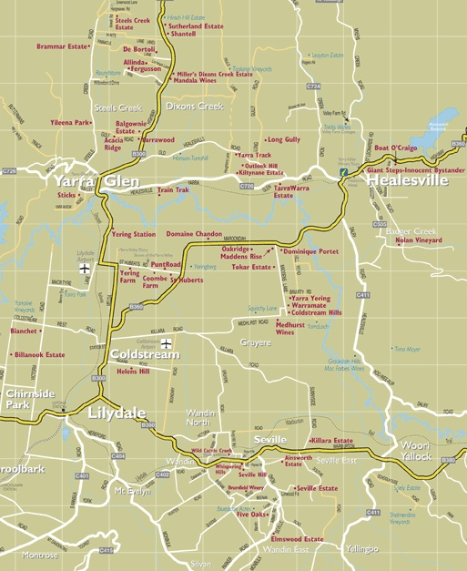 Yarra Valley Map Wineries Yarra Valley Map   Melbourne Wine Tours Yarra Valley Map